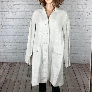 Eileen Fisher 100% Linen Button Front Jacket Tunic